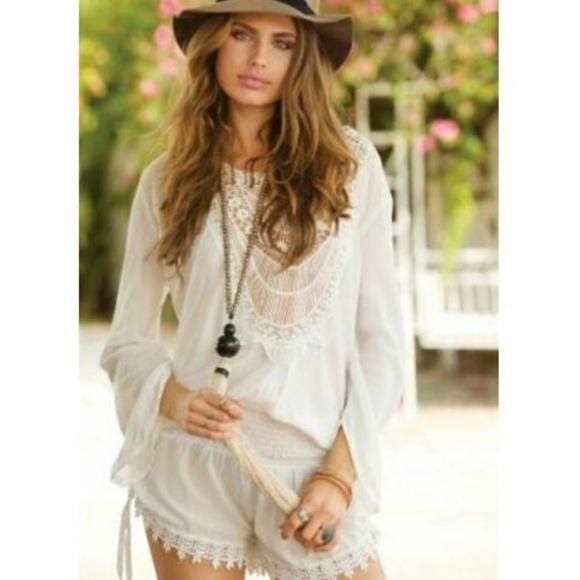 4ed3125687e1 Elan Pants - Elan S Romper White Crochet Lace Front Tie Back